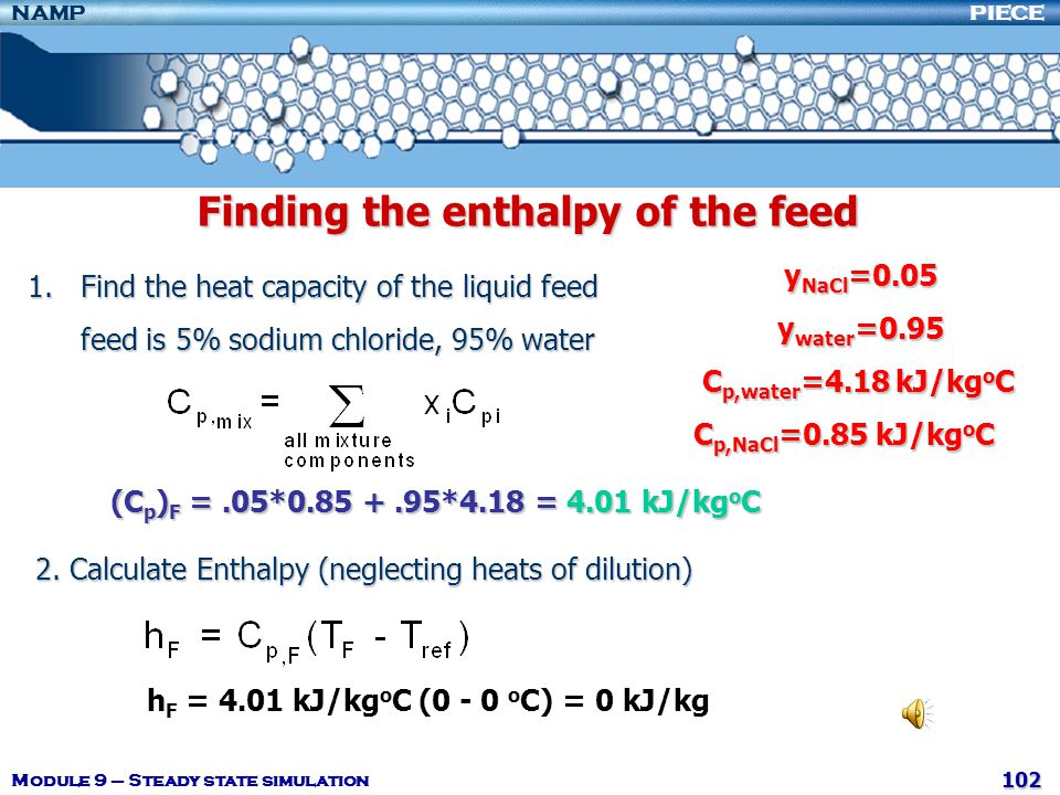 Finding the enthalpy of the feed