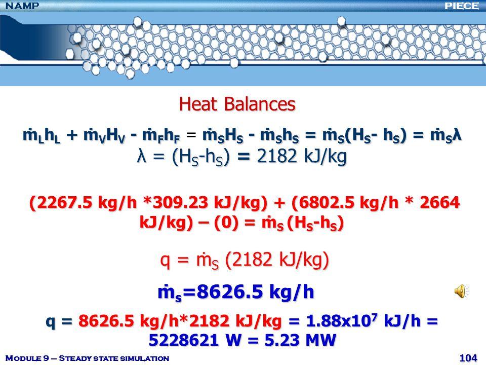 q = 8626.5 kg/h*2182 kJ/kg = 1.88x107 kJ/h = 5228621 W = 5.23 MW
