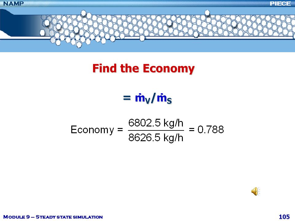 Find the Economy = ṁV/ṁS