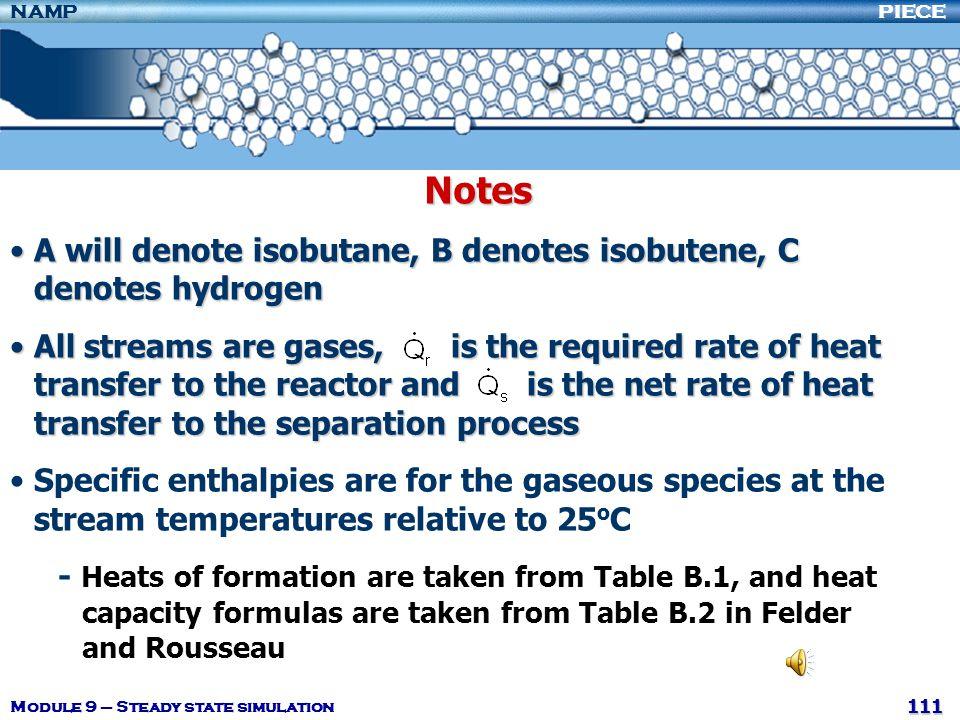 Notes A will denote isobutane, B denotes isobutene, C denotes hydrogen