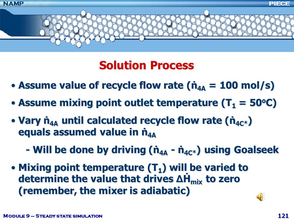 Solution Process Assume value of recycle flow rate (ṅ4A = 100 mol/s)