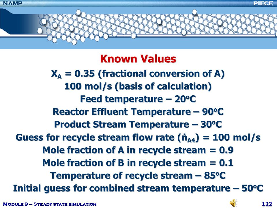 Known Values XA = 0.35 (fractional conversion of A)