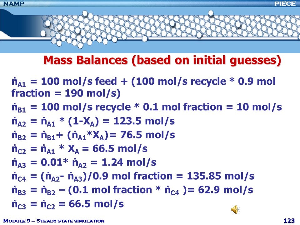 Mass Balances (based on initial guesses)