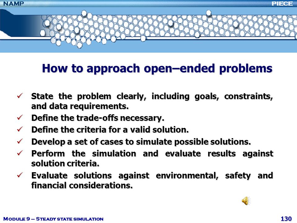 How to approach open–ended problems