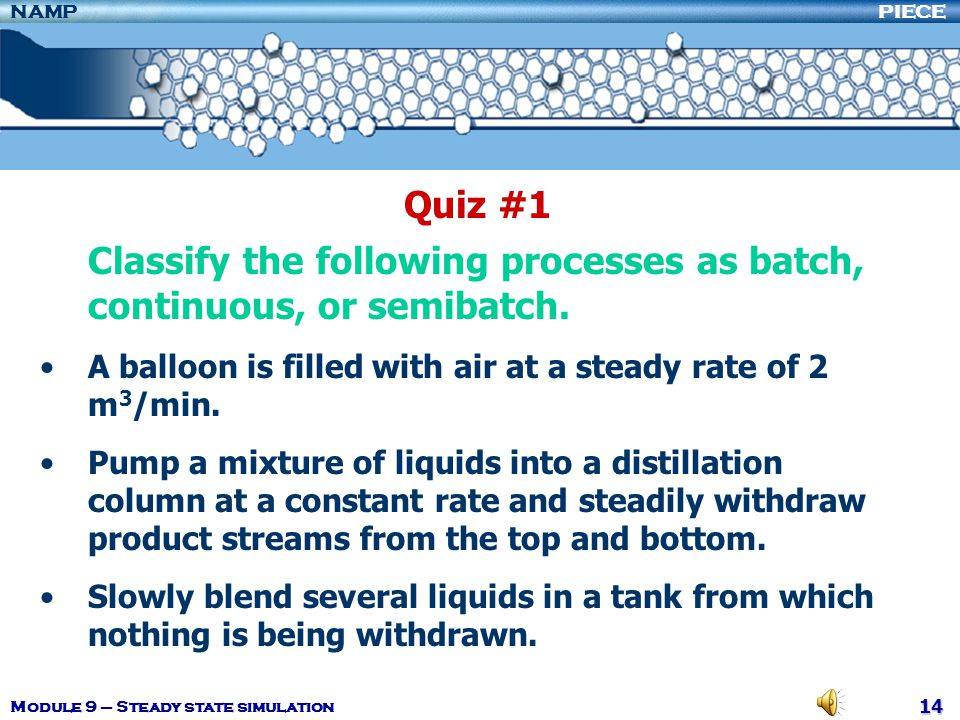 Classify the following processes as batch, continuous, or semibatch.