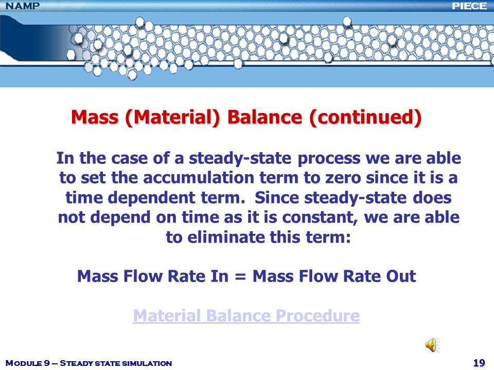 Mass (Material) Balance (continued)