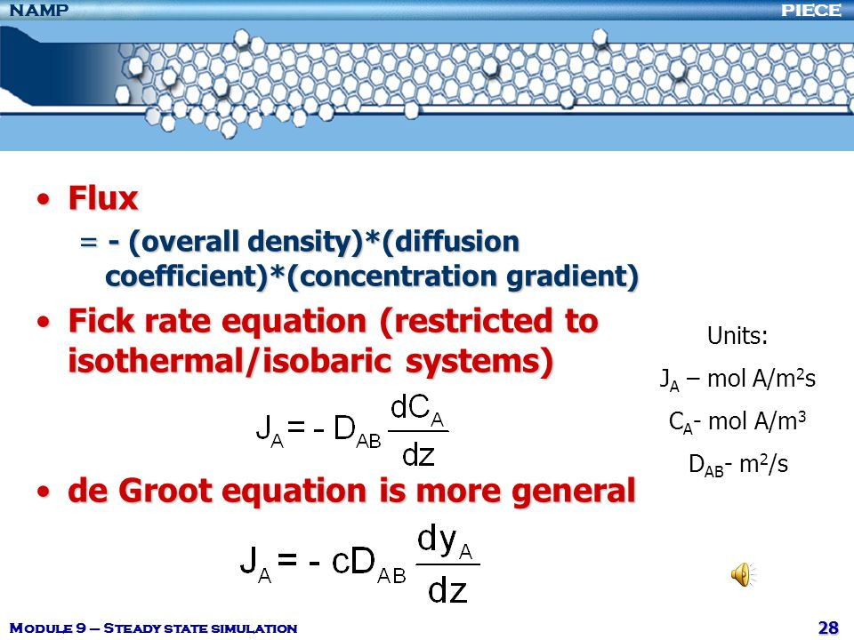 Fick rate equation (restricted to isothermal/isobaric systems)