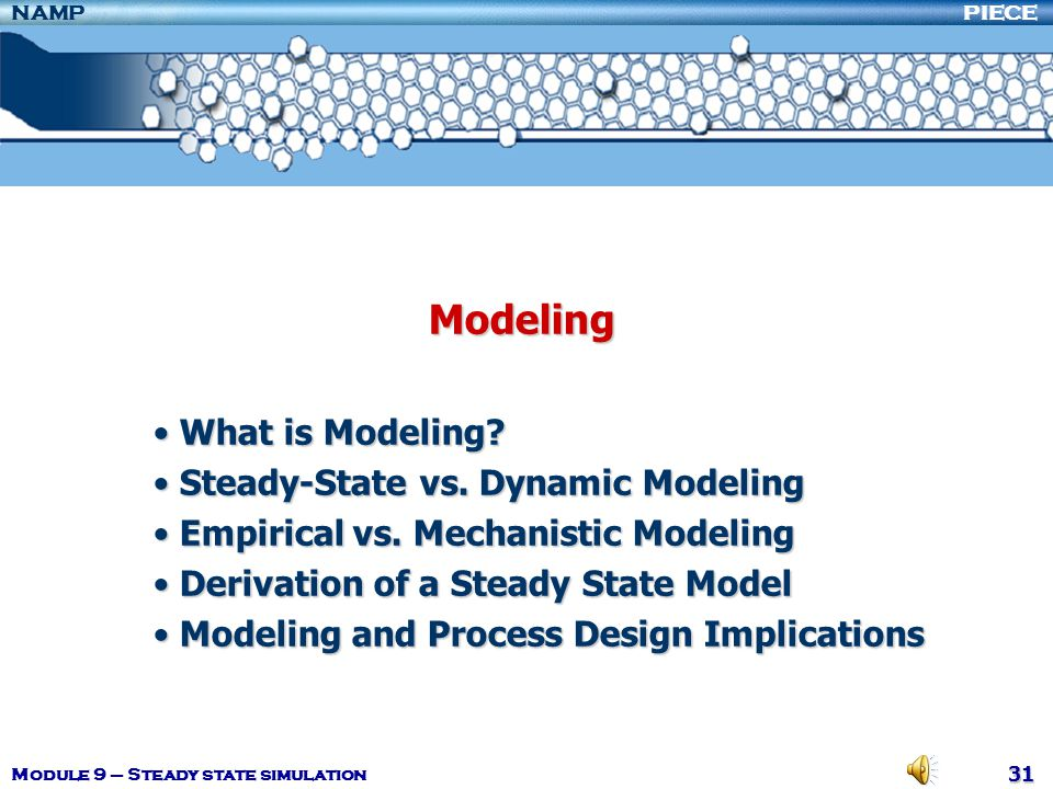 Modeling What is Modeling Steady-State vs. Dynamic Modeling