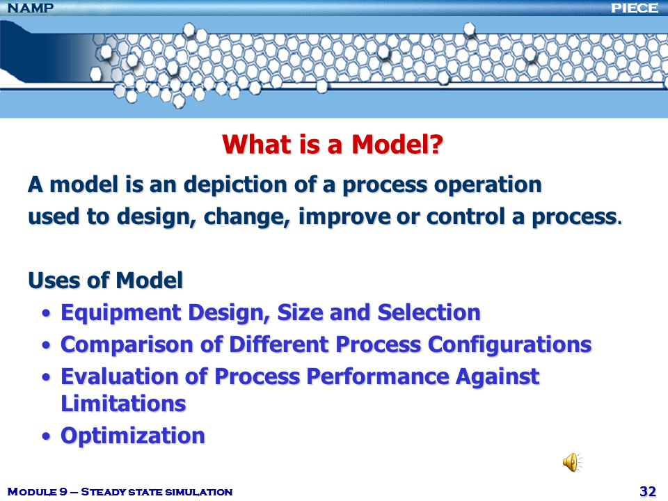 What is a Model A model is an depiction of a process operation