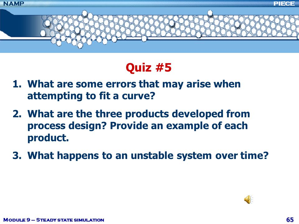 Quiz #5 What are some errors that may arise when attempting to fit a curve