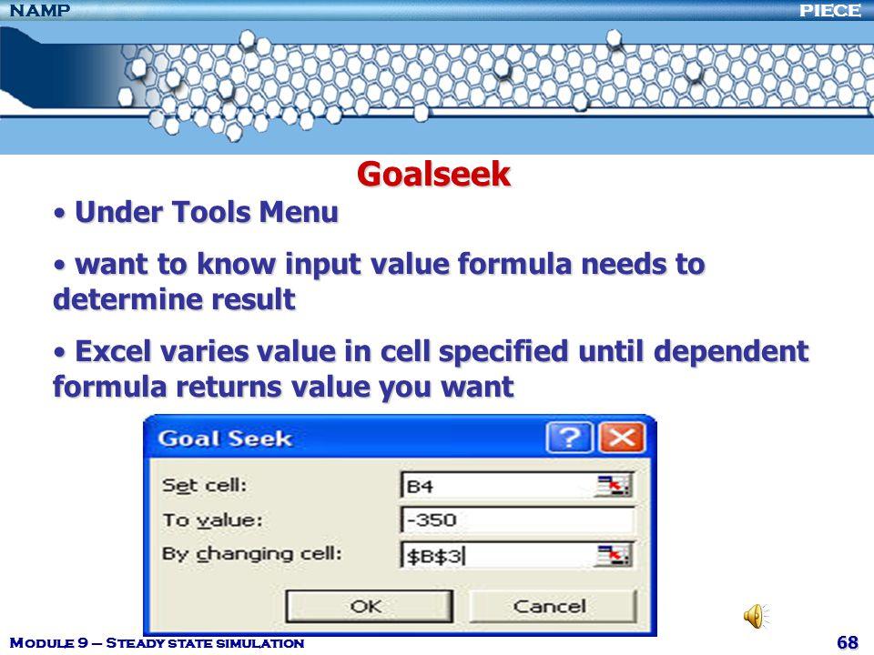 Goalseek Under Tools Menu