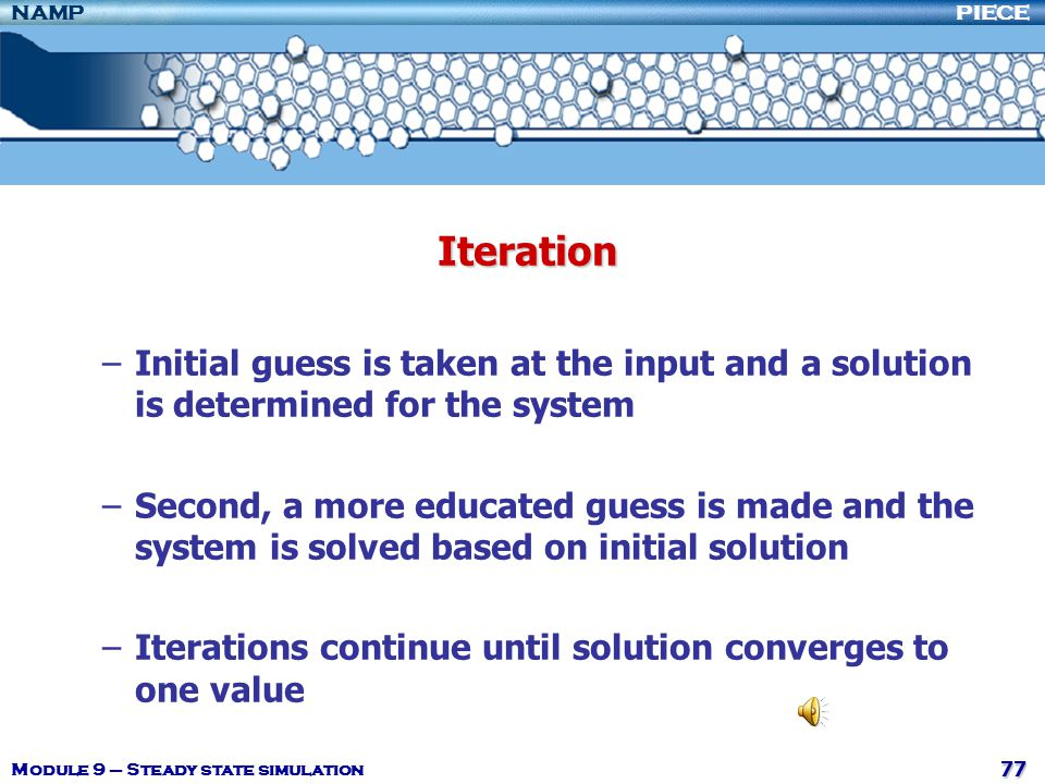 Iteration Initial guess is taken at the input and a solution is determined for the system.