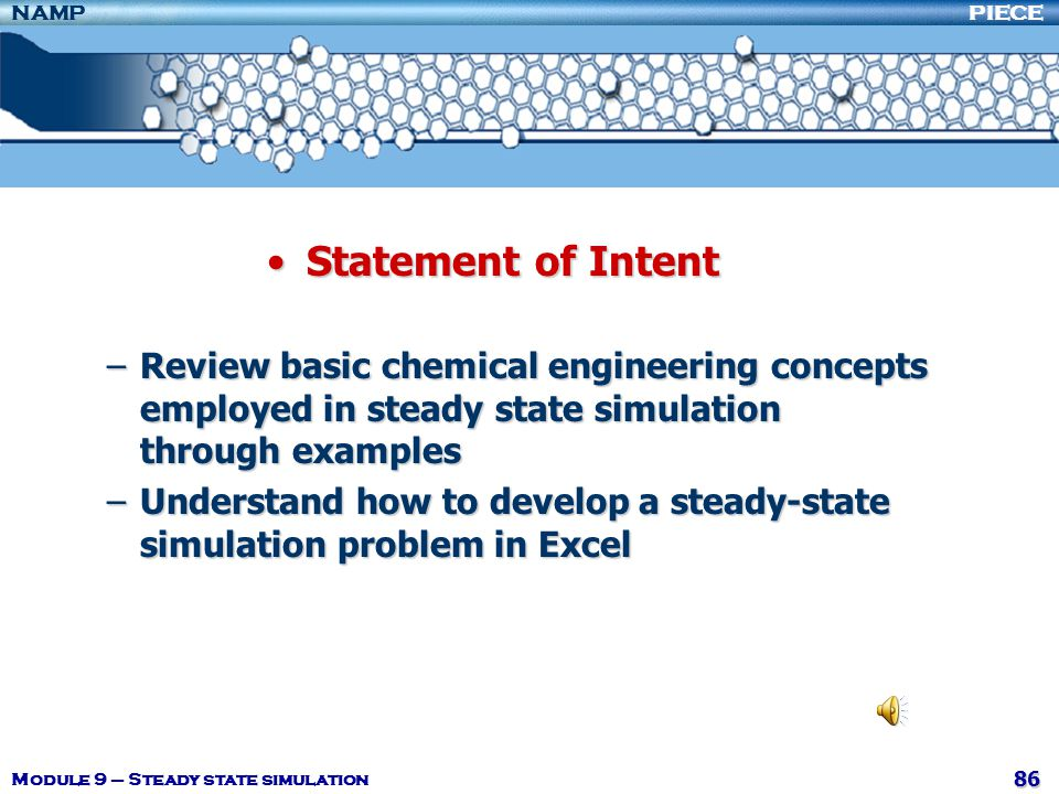 Statement of Intent Review basic chemical engineering concepts employed in steady state simulation through examples.