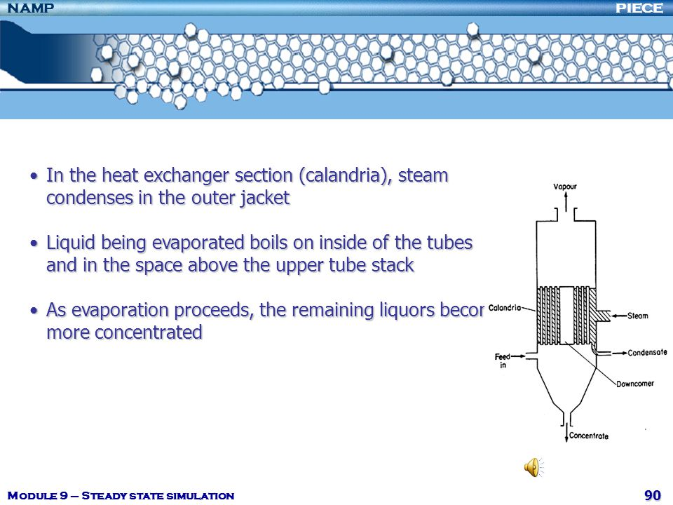 In the heat exchanger section (calandria), steam condenses in the outer jacket