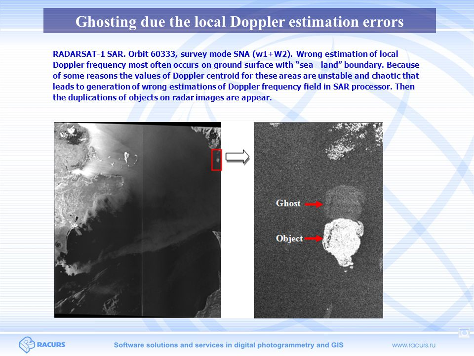 Ghosting due the local Doppler estimation errors