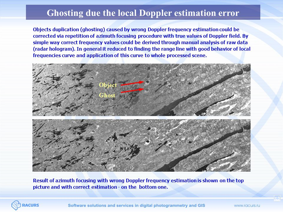 Ghosting due the local Doppler estimation error