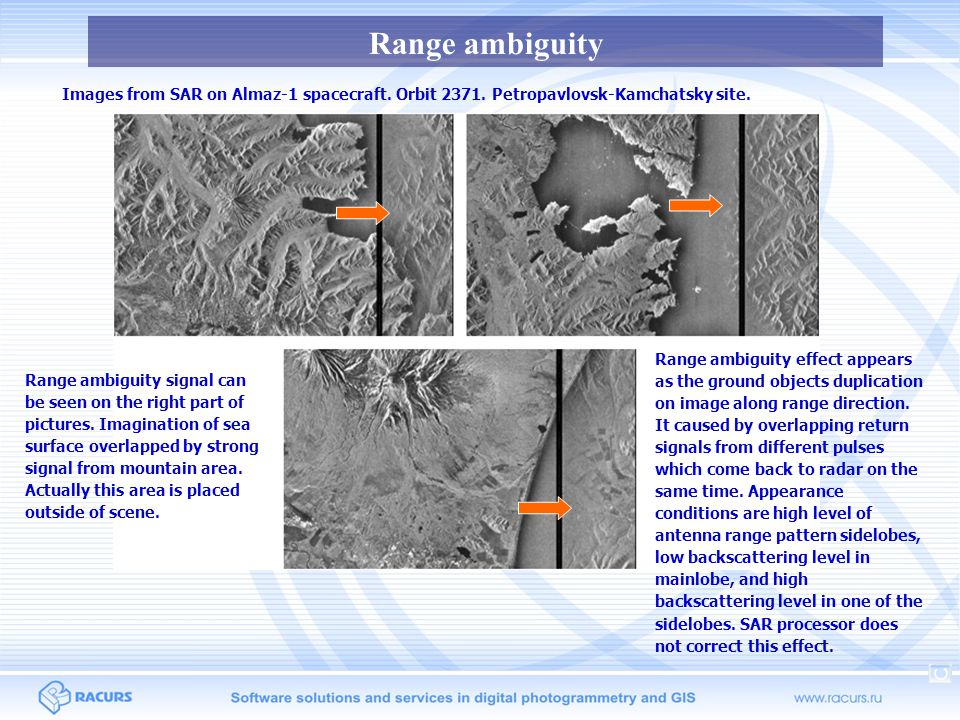 Range ambiguity Images from SAR on Almaz-1 spacecraft. Orbit 2371. Petropavlovsk-Kamchatsky site.
