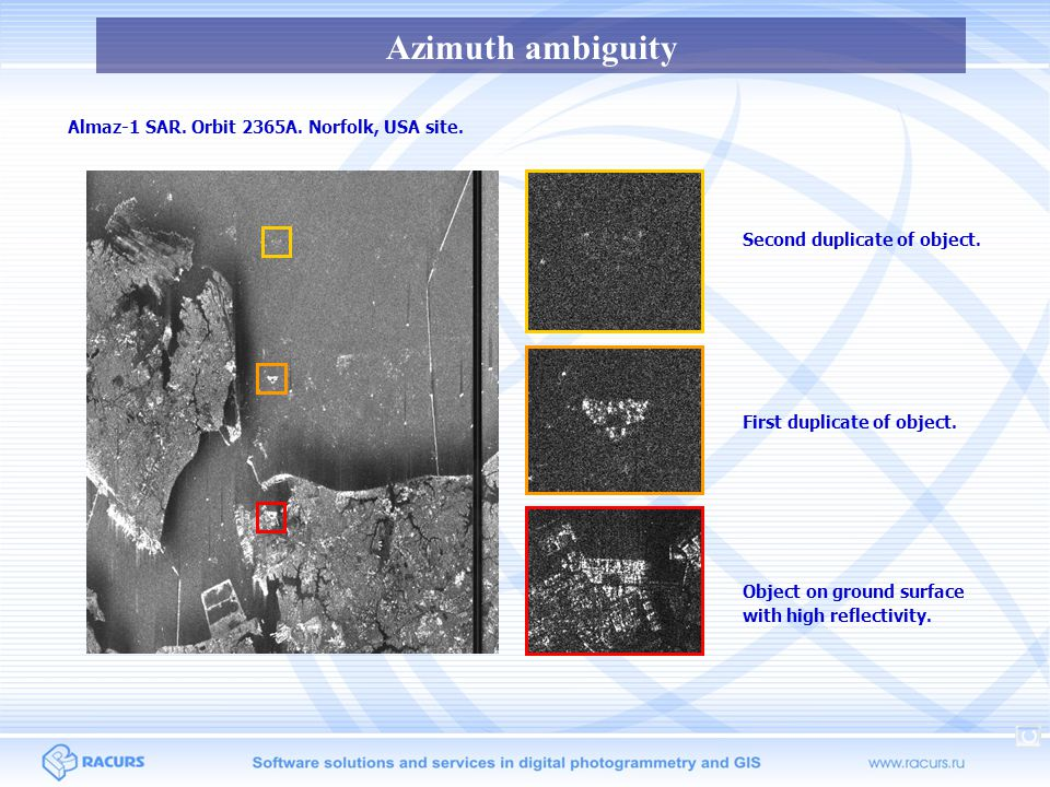 Azimuth ambiguity Almaz-1 SAR. Orbit 2365A. Norfolk, USA site.