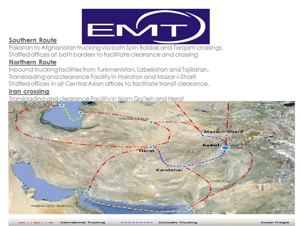 Southern Route Northern Route Iran crossing