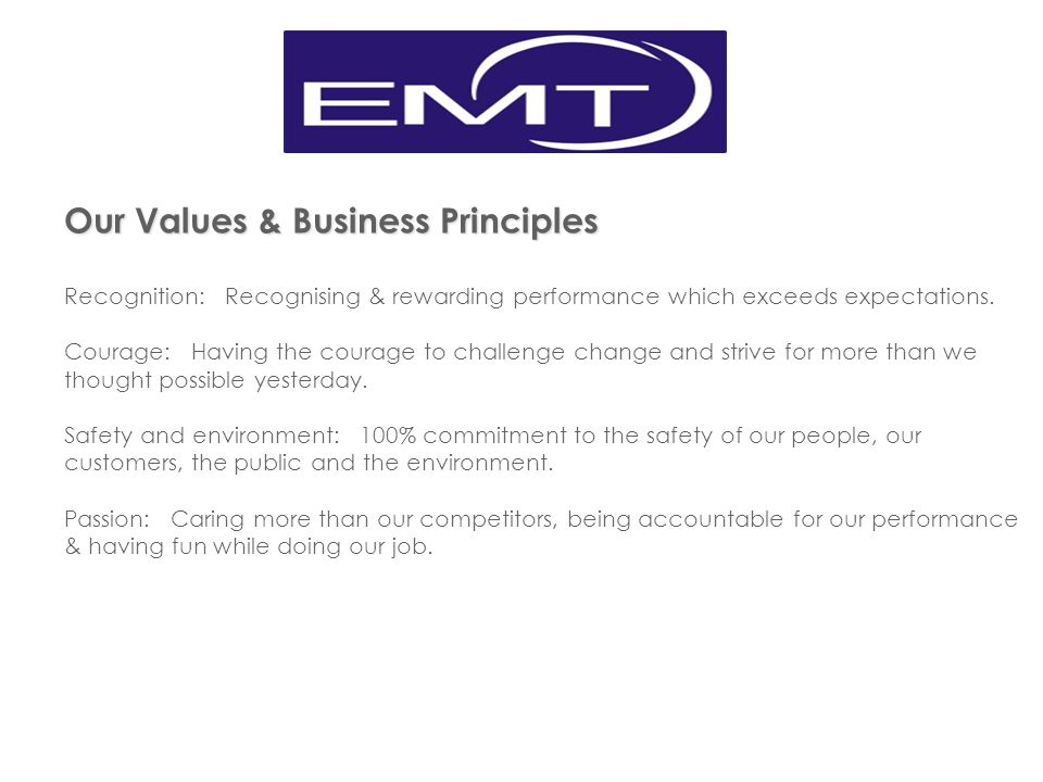Our Values & Business Principles