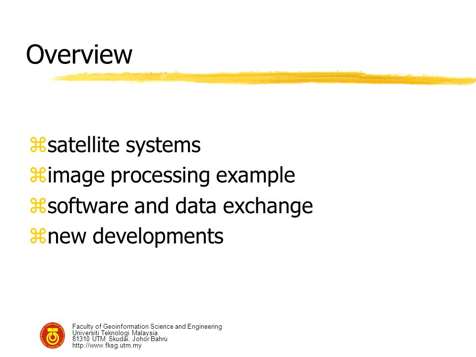 Overview satellite systems image processing example