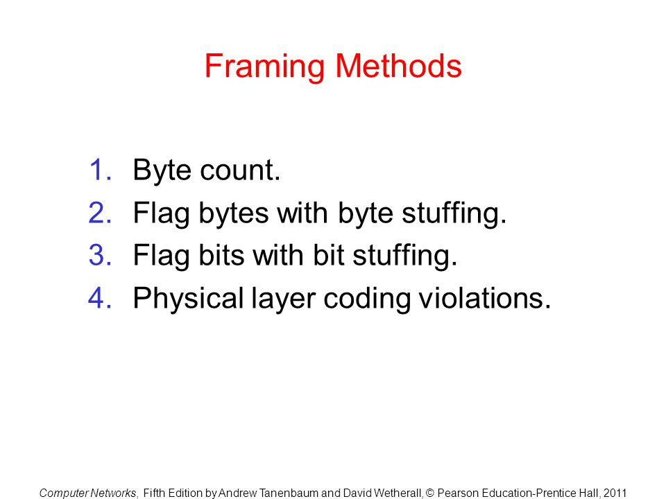 Framing Methods Byte count. Flag bytes with byte stuffing.