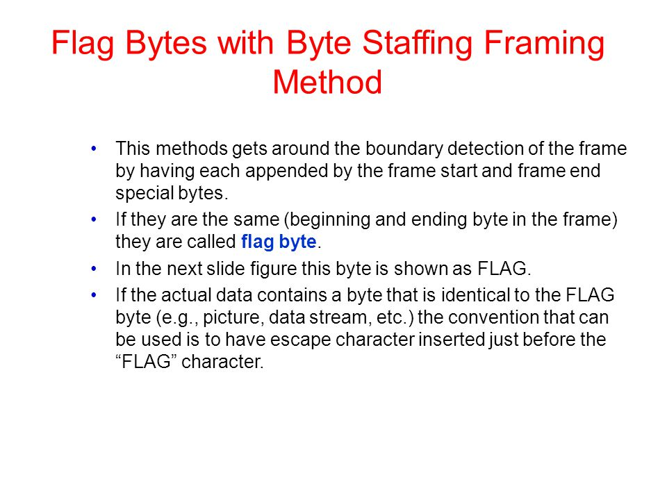 Flag Bytes with Byte Staffing Framing Method