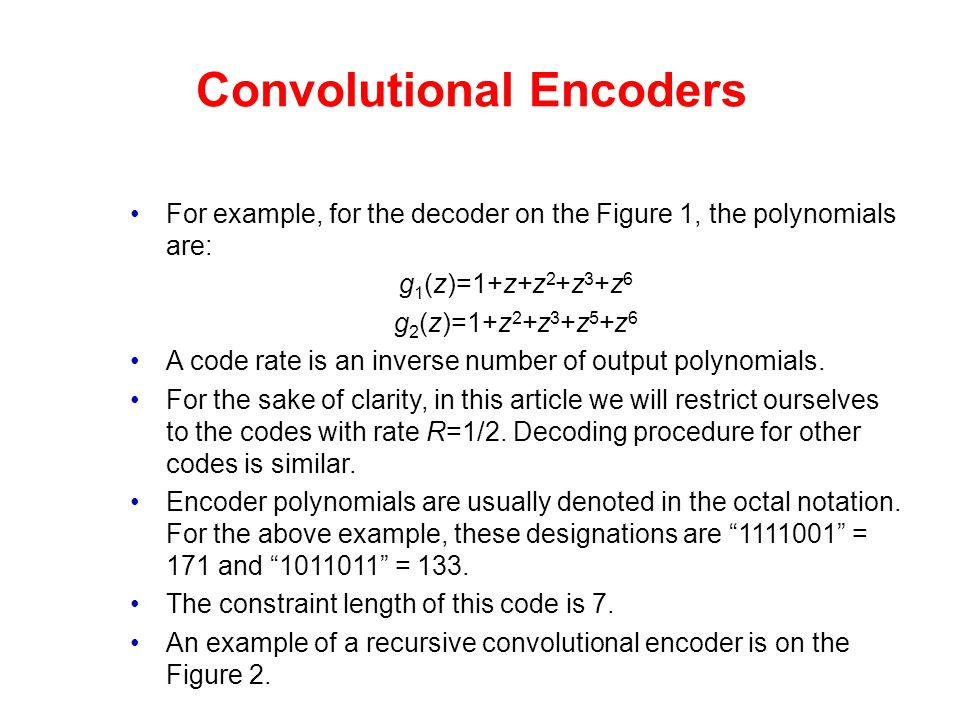 Convolutional Encoders