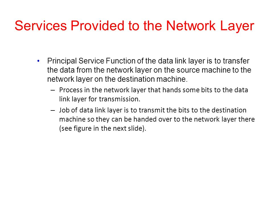 Services Provided to the Network Layer