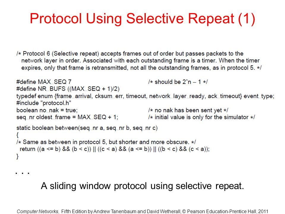 Protocol Using Selective Repeat (1)