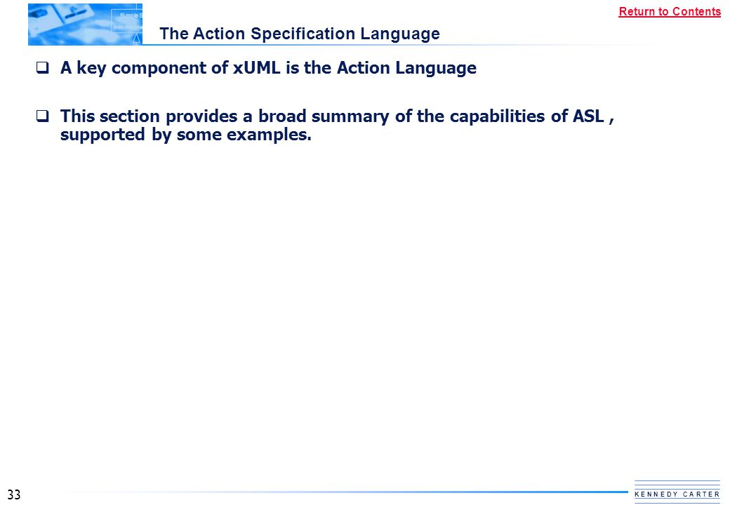 The Action Specification Language