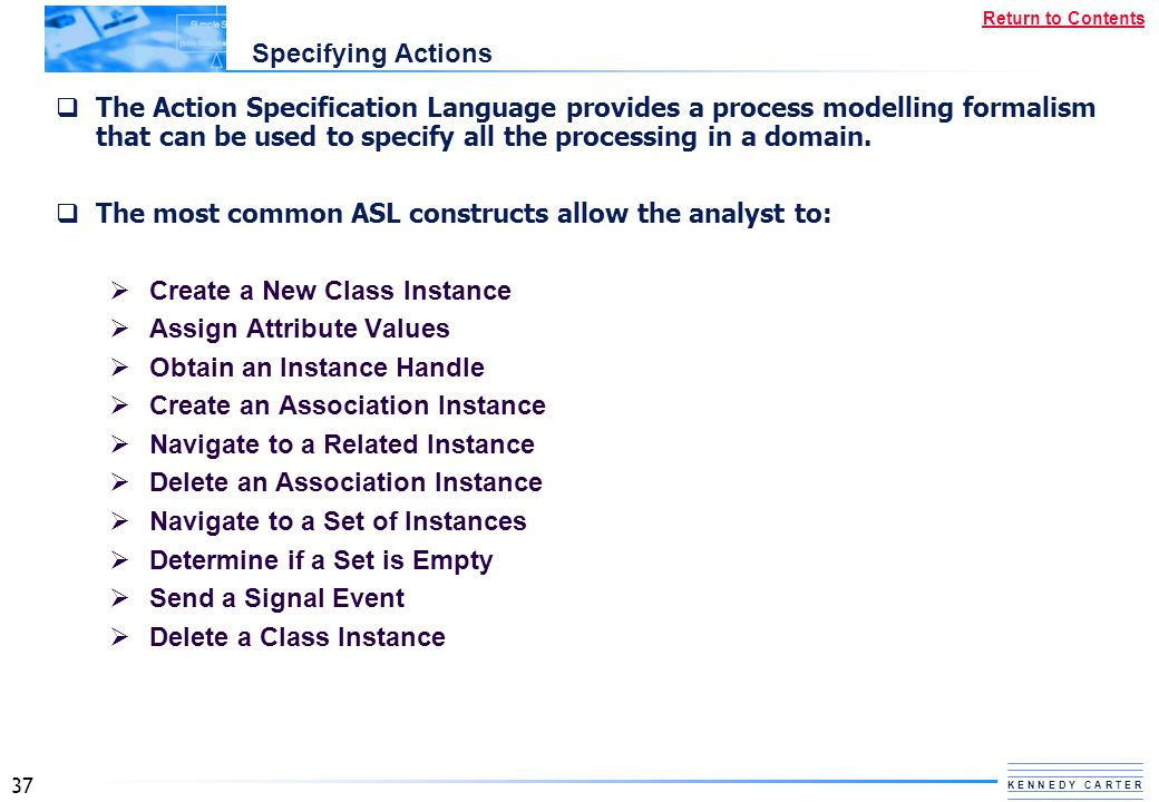 Specifying Actions
