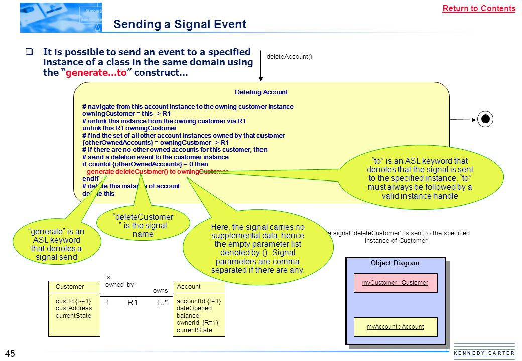 Sending a Signal Event It is possible to send an event to a specified instance of a class in the same domain using the generate...to construct...