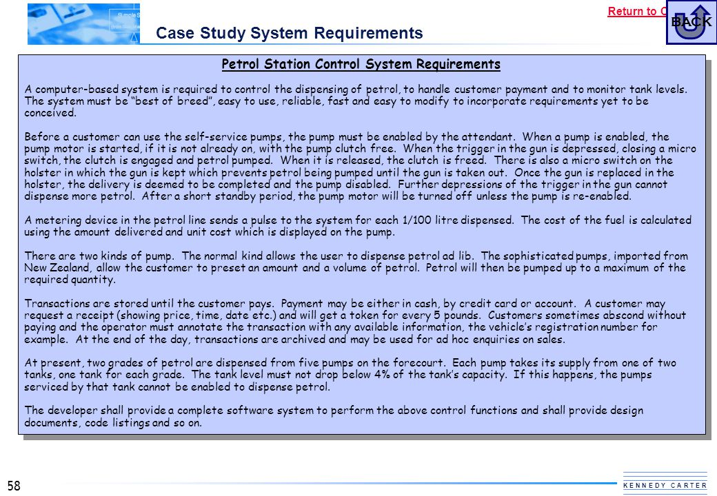 Case Study System Requirements