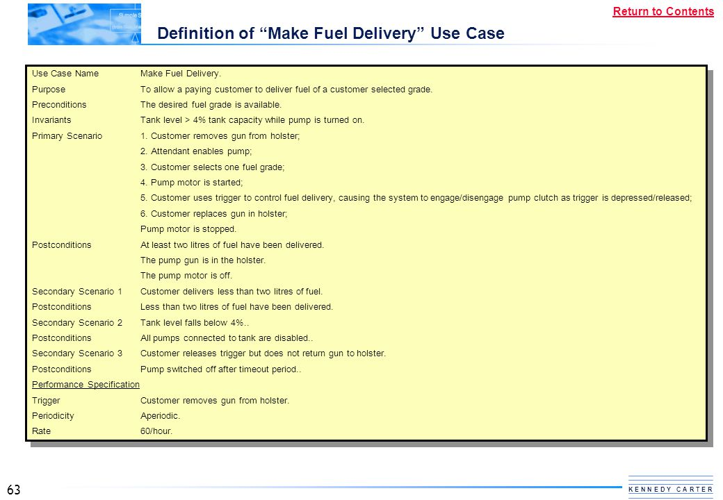 Definition of Make Fuel Delivery Use Case