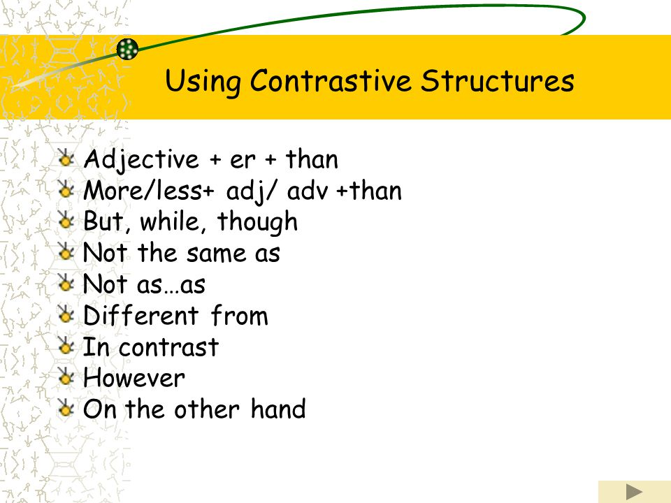 Using Contrastive Structures