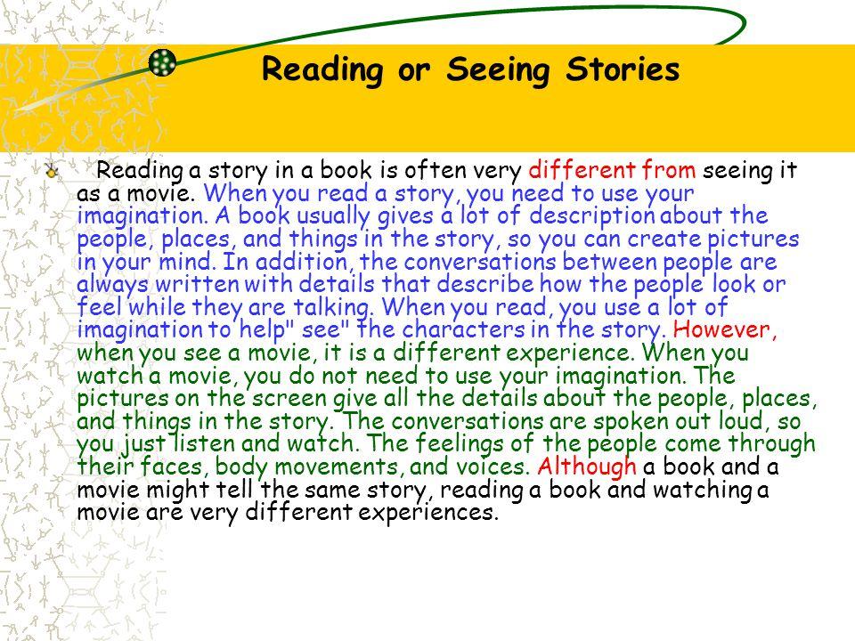 Reading or Seeing Stories