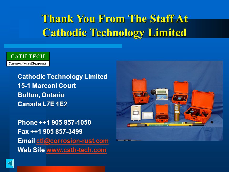Thank You From The Staff At Cathodic Technology Limited
