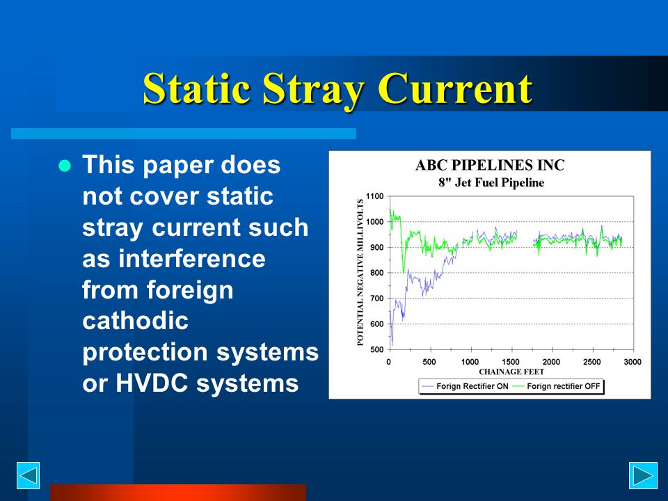 Static Stray Current This paper does not cover static stray current such as interference from foreign cathodic protection systems or HVDC systems.
