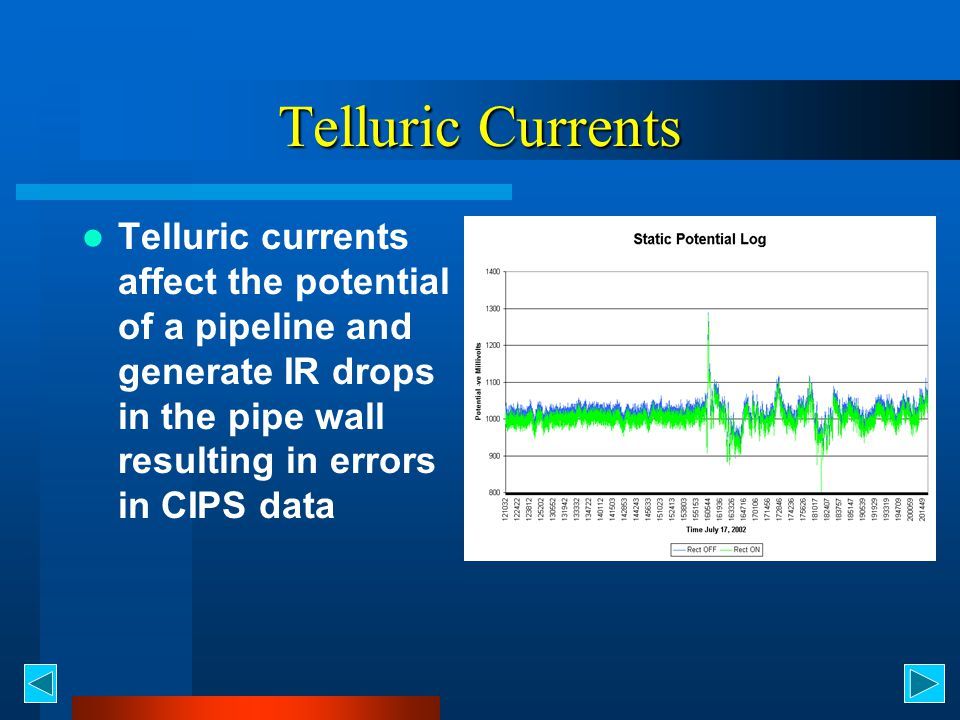 Telluric Currents Telluric currents affect the potential of a pipeline and generate IR drops in the pipe wall resulting in errors in CIPS data.