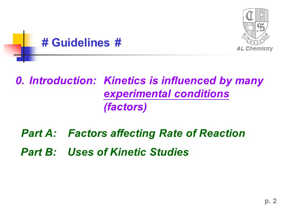 AL Chemistry # Guidelines # 0. Introduction: Kinetics is influenced by many experimental conditions (factors)