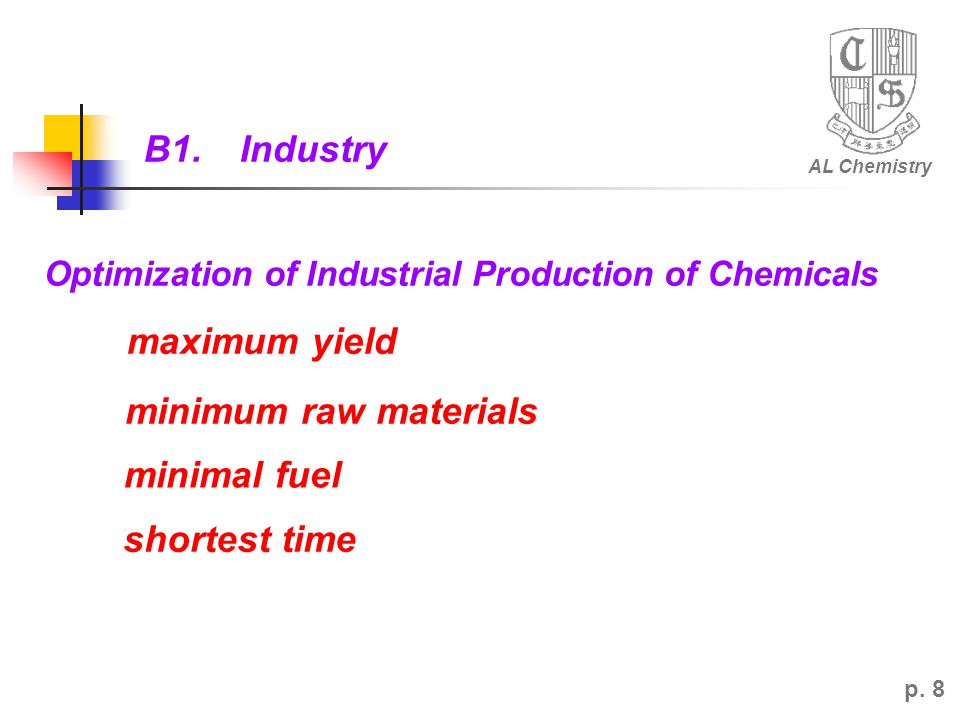 B1. Industry maximum yield minimum raw materials minimal fuel