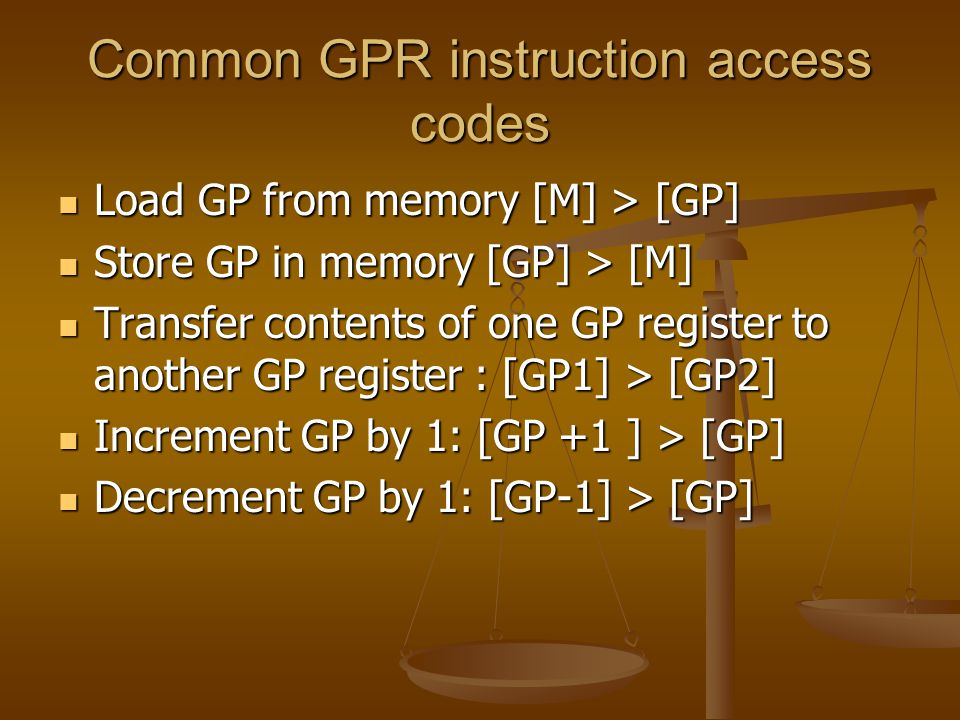 Common GPR instruction access codes