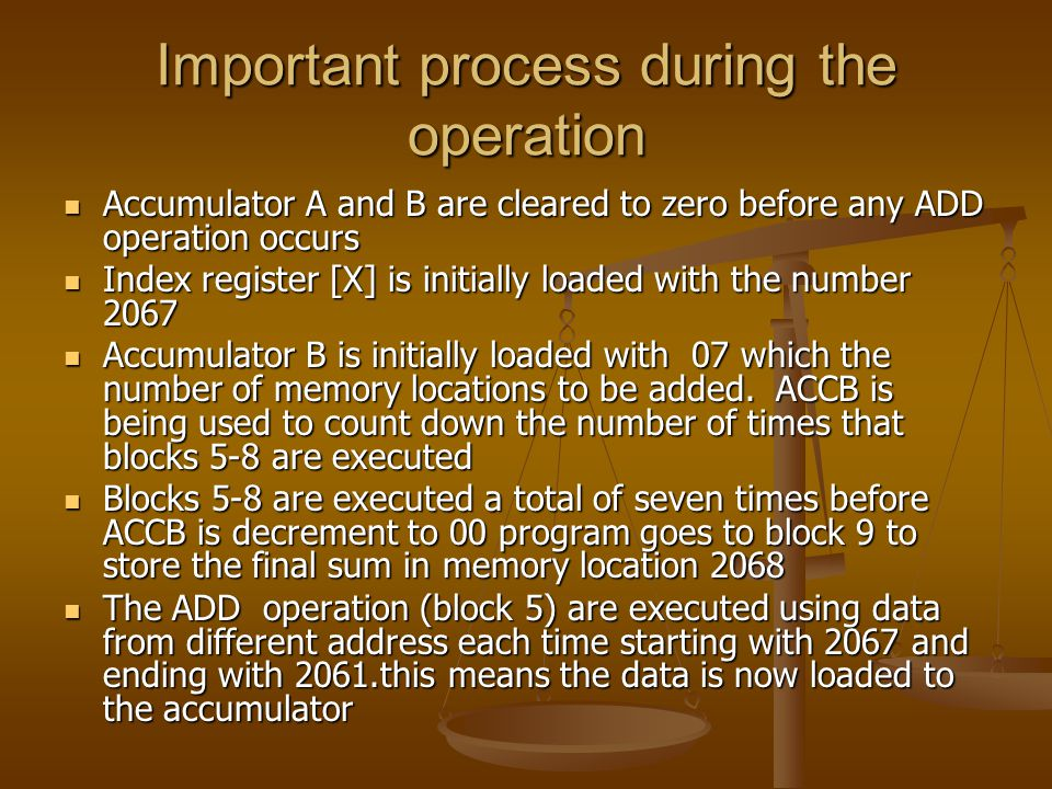 Important process during the operation