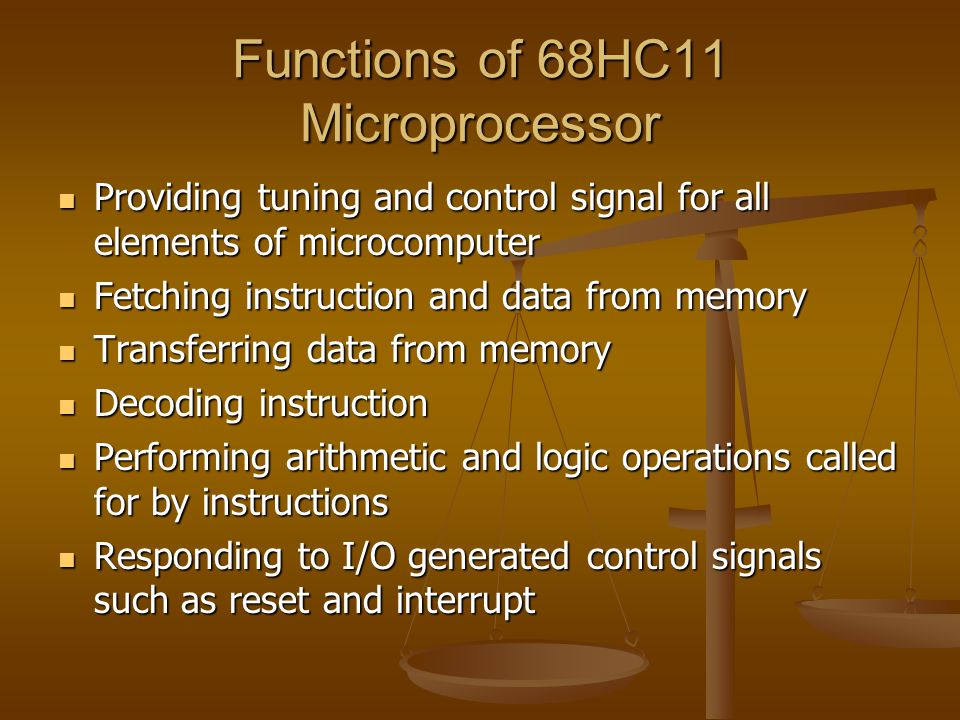 Functions of 68HC11 Microprocessor