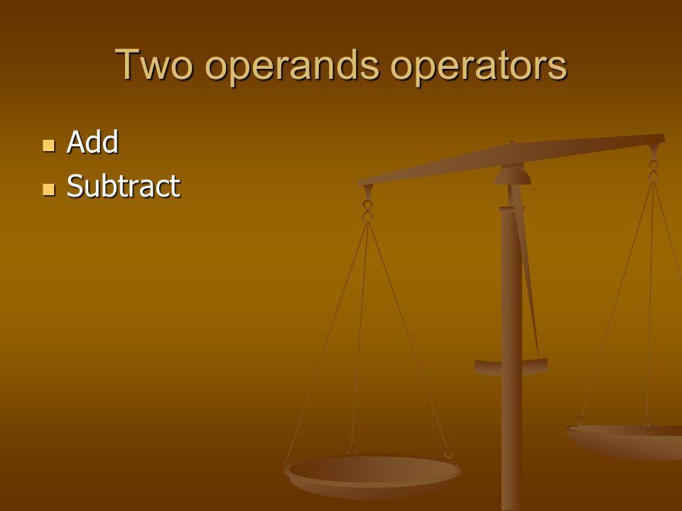 Two operands operators
