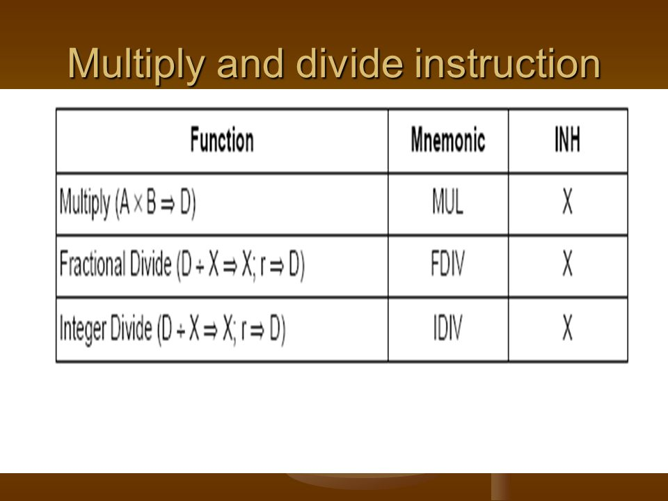 Multiply and divide instruction