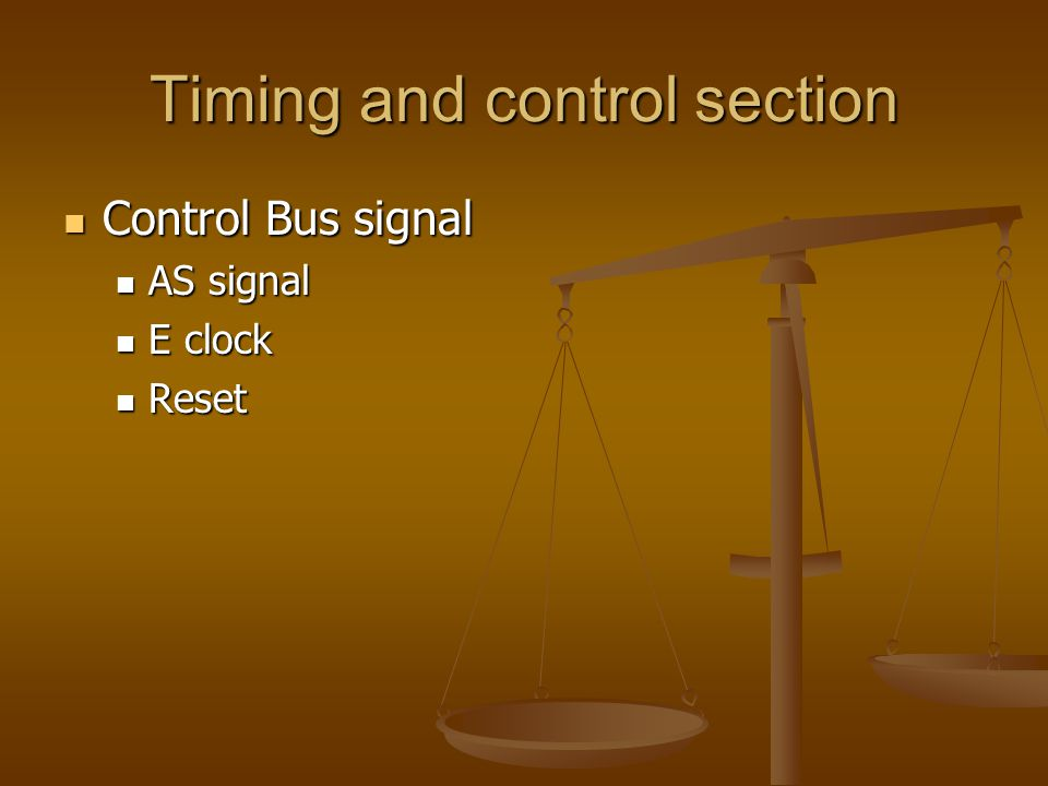 Timing and control section