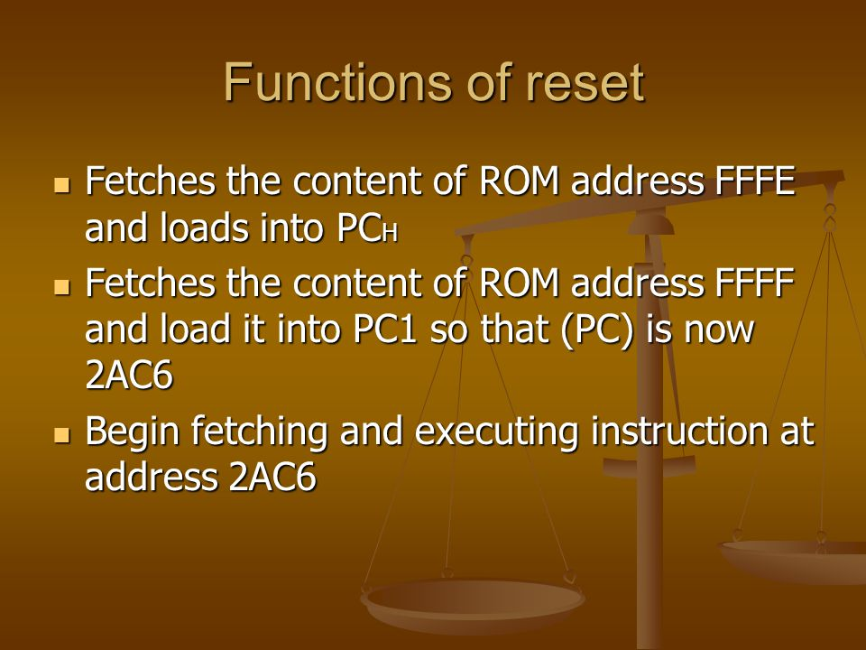 Functions of reset Fetches the content of ROM address FFFE and loads into PCH.