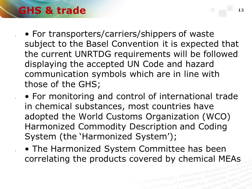 GHS & trade